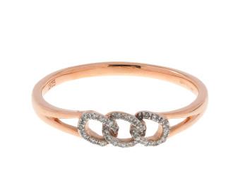 9ct Rose Gold Diamond Link Ring