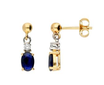 9ct Yellow & White Gold 6mm Sapphire & Diamond Oval Drop Earrings
