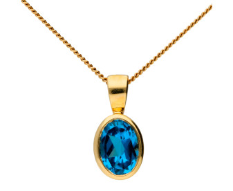 9ct Yellow Gold 0.80ct Topaz Solitare Pendant
