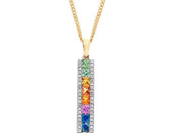 9ct Yellow Gold Rainbow Sapphire & Diamond Bar Pendant