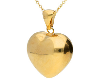 9ct Yellow Gold Large Heart Pendant