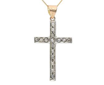 Handcrafted Italian 0.60ct Diamond Cross Pendant