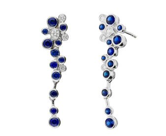 18ct White Gold 0.85ct Sapphire & 0.15ct Diamond Fancy Drop Earrings