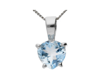 9ct White Gold 0.85ct Aquamarine Heart Solitaire Pendant