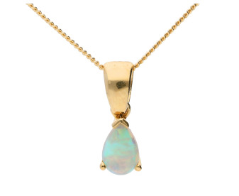 9ct Yellow Gold 6mm Opal Solitaire Pear Shape Pendant