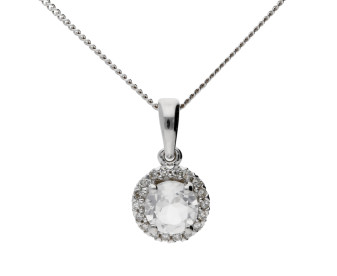 9ct White Gold Topaz & Diamond Cluster Pendant