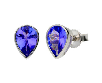 9ct White Gold 7mm Tanzanite Solitare Pear Shape Stud Earrings