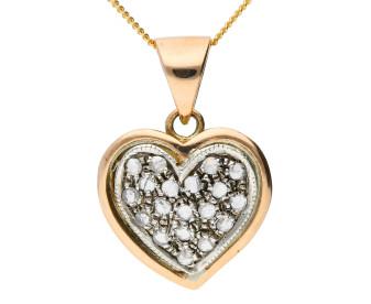 Handcrafted Italian 0.25ct Diamond Heart Cluster Pendant