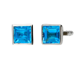 9ct White Gold 0.30ct Square Swiss Blue Solitaire Stud Earrings