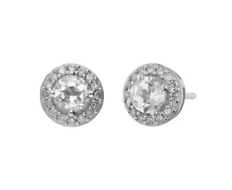 9ct White Gold Colourless Topaz & Diamond Earrings