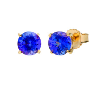 9ct Yellow Gold 5mm Tanzanite Solitaire Round Shape Stud Earrings