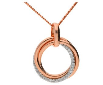 9ct Rose Gold Diamond Circle Pendant