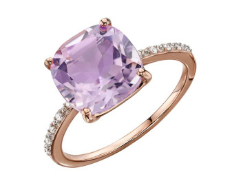 9ct Rose Gold Amethyst & Diamond Ring