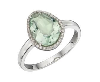 9ct White Gold Green Fluorite & Diamond Ring