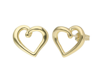 9ct Yellow Gold Heart Squiggle Earrings
