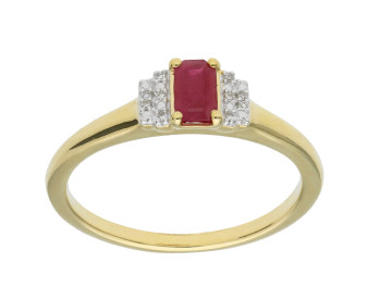 9ct Yellow Gold Ruby & Diamond Deco Ring