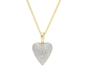 9ct Yellow Gold Diamond Pave Heart Pendant