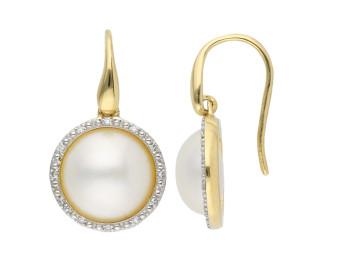 9ct Yellow Gold Mabe Pearl & Diamond Drop Earrings