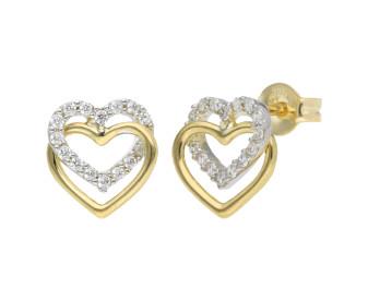 9ct Yellow Gold Double Heart Cubic Zirconia Stud Earrings