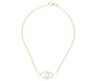 9ct Yellow Gold Double Heart Cubic Zirconia Bracelet