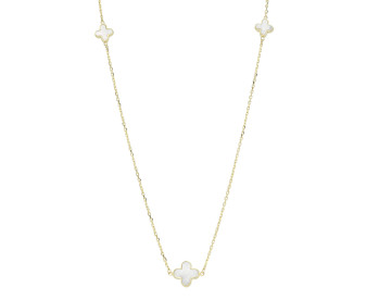 9ct Yellow Gold Mother Of Pearl Quatrefoil Necklace