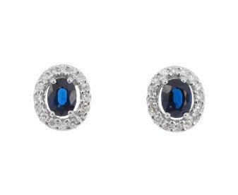 9ct White Gold Sapphire & Diamond Cluster Earrings