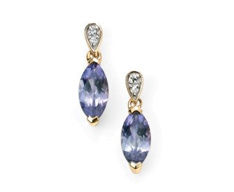 9ct Yellow Gold Tanzanite & Diamond Drop Earrings