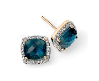 9ct Yellow Gold London Blue Topaz & Diamond Cluster Earrings