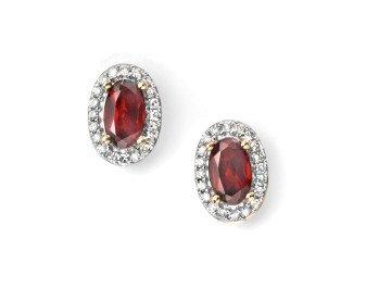 9ct Gold Garnet & Diamond Cluster Earrings