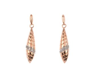 9ct Rose Gold Diamond Drop Earrings
