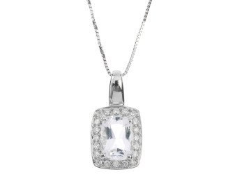 9ct White Gold 0.10ct Colourless Topaz & Diamond Halo Pendant