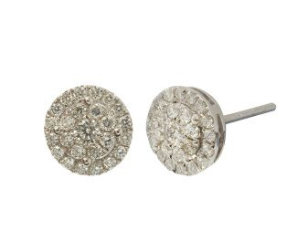 18ct White Gold 0.54ct Diamond Cluster Earrings