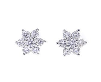 18ct White Gold Diamond Cluster Earrings