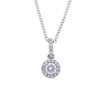 18ct White Gold 0.21ct Diamond Halo Pendant