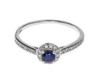 18ct White Gold 0.33ct Sapphire & Diamond Halo Ring