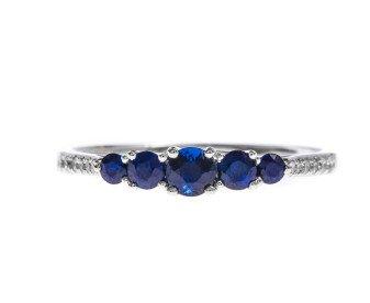 18ct White Gold 0.44ct Sapphire & Diamond Dress Ring