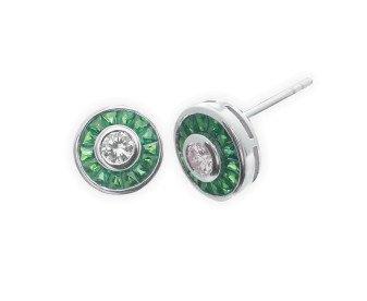 0.34ct Diamond & Emerald Cluster Earrings