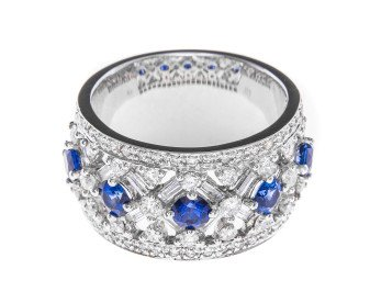 Pre-Owned 1.22ct Diamond & Sapphire Dress Ring
