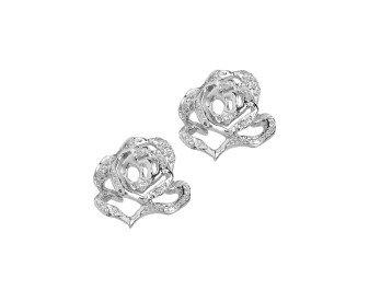 Sterling Silver Rose Stud Stone Set Rose Stud Earrings