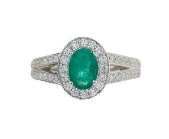 18ct White Gold 0.68ct Emerald & Diamond Halo Ring