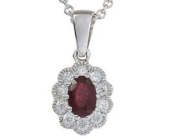 18ct White Gold 0.52ct Ruby & Diamond Pendant