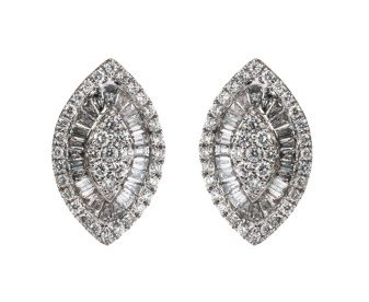 18ct White Gold 0.95ct Diamond Cluster Earrings