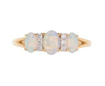 18ct Gold Opal & Diamond Dress Ring
