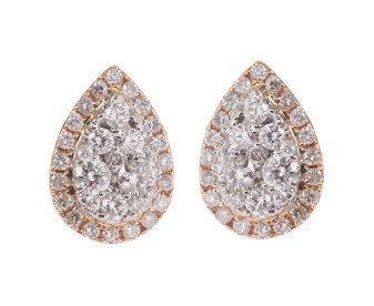 18ct Gold 0.46ct Diamond Cluster Pear Shaped Earrings