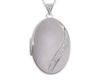 Sterling Silver Oval Wave Locket