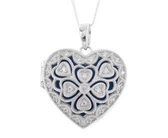 Sterling Silver & Cubic Zirconia Heart Locket