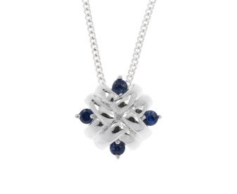 9ct White Gold Sapphire Woven Pendant