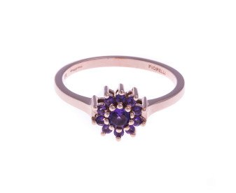 9ct Rose Gold Rose & Purple Amethyst Cluster Ring