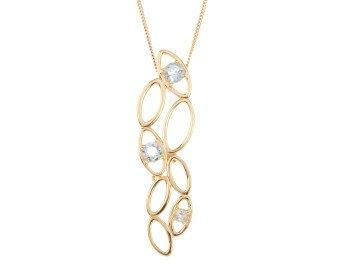 9ct Gold Aquamarine Contemporary Pendant