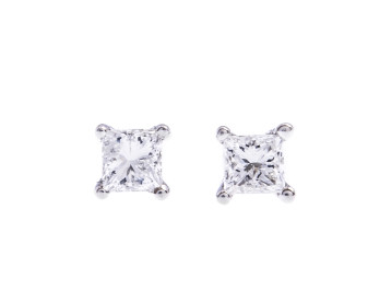 9ct White Gold 0.10ct Princess Cut Diamond Solitaire Stud Earrings